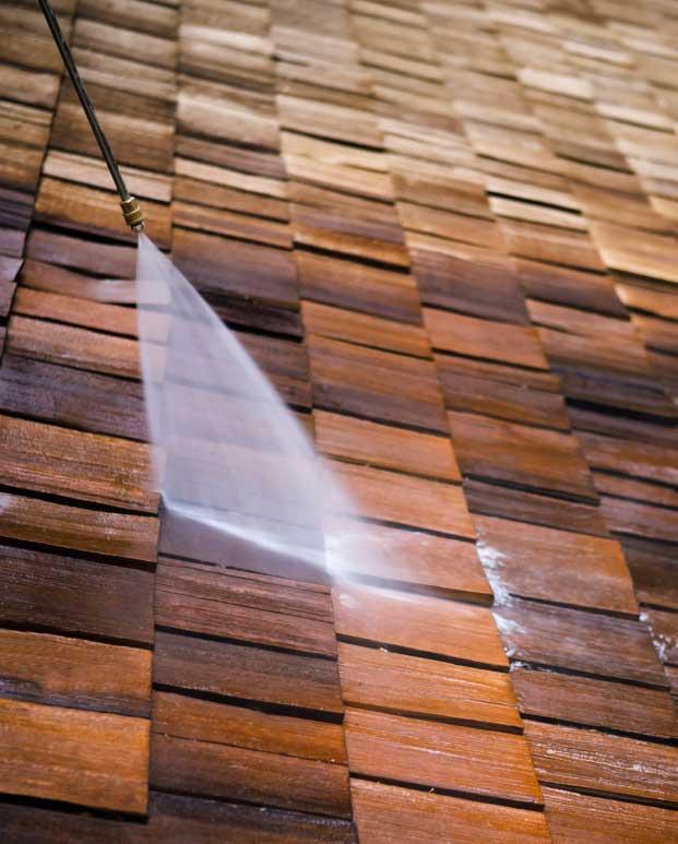 roof washing wood